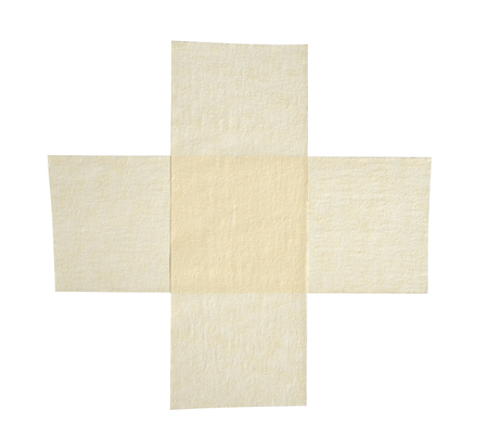 tear duct: Adhesive tape pieces on white background