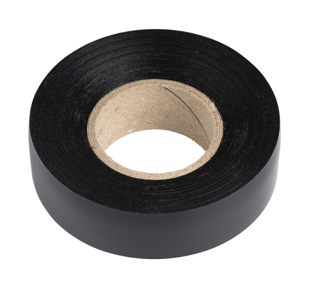 sellotape: Roll of black plastic duct tape on white background, isolated Stock Photo