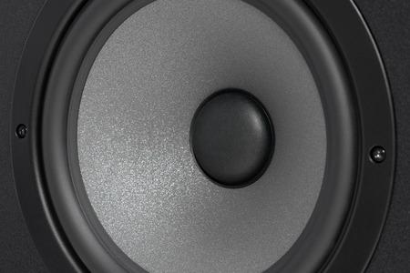 Black studio monitor speaker, closeup Stock Photo