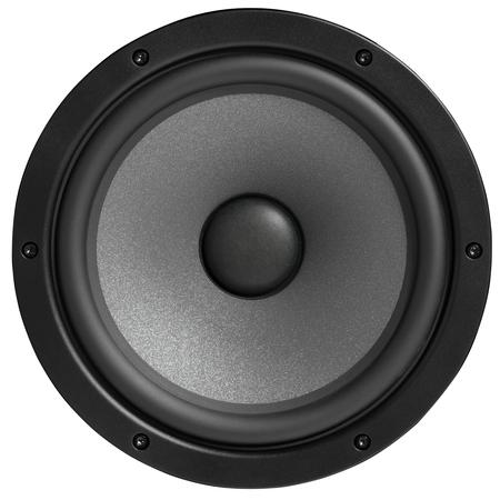 Black studio monitor speaker, isolated. Closeup