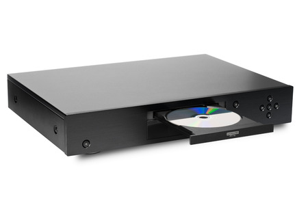 Blue-ray player with a disk, isolated Standard-Bild