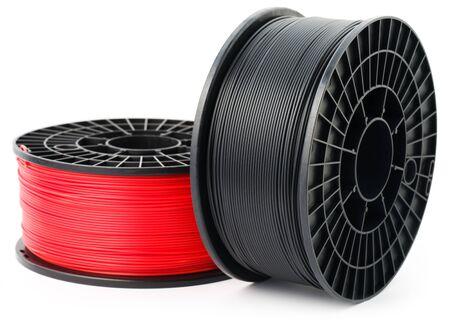 Filament 3d printer on white background.