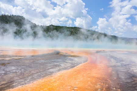 prismatic: Amazing Colourful bacteria and thermophiles at the Grand Prismatic Spring, Yellowstone National Park, Wyoming, USA Stock Photo