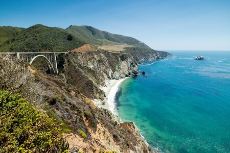 bixby: Bixby Bride on the Pacific Coast Highway in California on a beautiful clear blue Summer day, United States