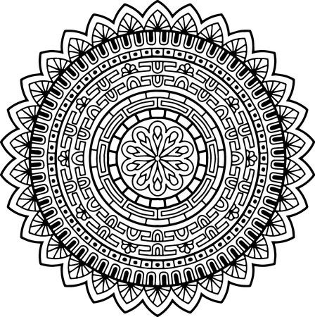 Uncolored mandala pattern design. Illustration