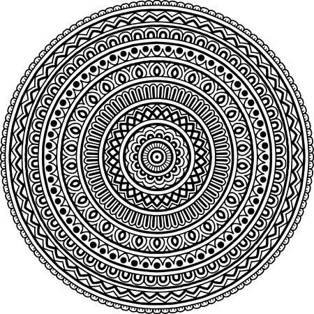 Mandala pattern black and white good mood Illustration