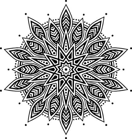 Mandala pattern black and white good mood Illustration