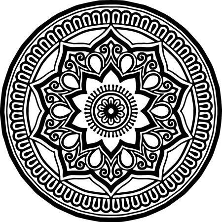 Mandala pattern black and white illustration.