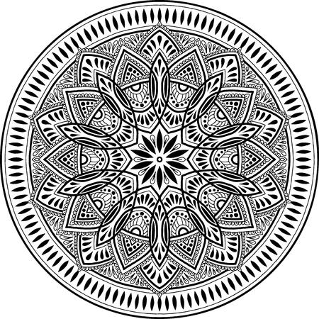Mandala pattern black and white, good mood illustration on white background.