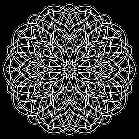 Black background with white elaborate pattern