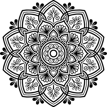 Mandala pattern black and white Standard-Bild - 102236666