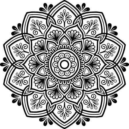 Wzór mandali czarno-biały