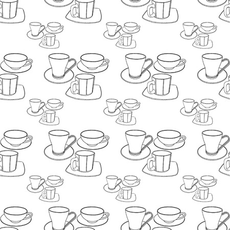 Abstract patterns cups with saucers doodle Sketch