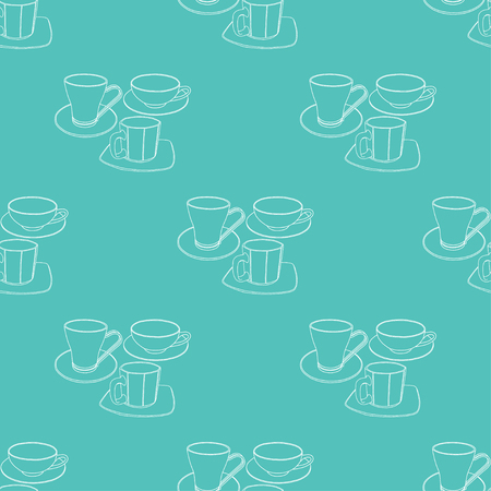 Abstract patterns cups with saucers color doodle Sketch