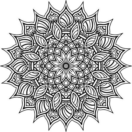 Mandala pattern black and white good mood Ilustração