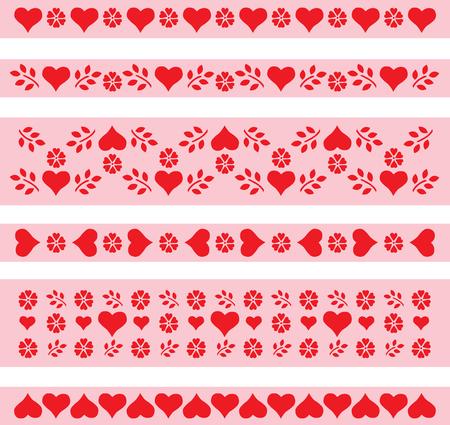 Valentine's Day hearts curb tape ribbon tape doodles sketch Archivio Fotografico - 126844921