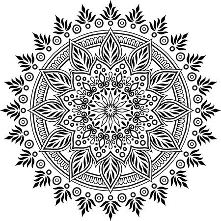 Mandala pattern black and white doodles sketch good mood Vetores