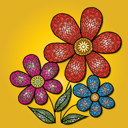 Decorative flowers for greeting cards Holidays