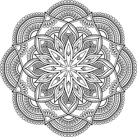 Rysunek mandali do kolorowania doodles szkic dobry nastrój