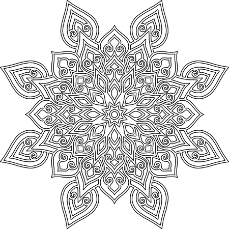 Figure mandala for coloring doodles sketch good mood Ilustração