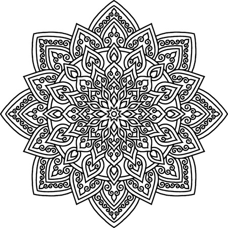 Mandala pattern black and white doodles sketch Imagens - 124996577