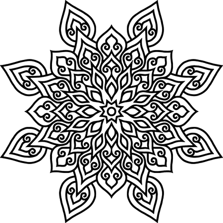 Mandala pattern black and white doodles sketch Imagens - 124996578