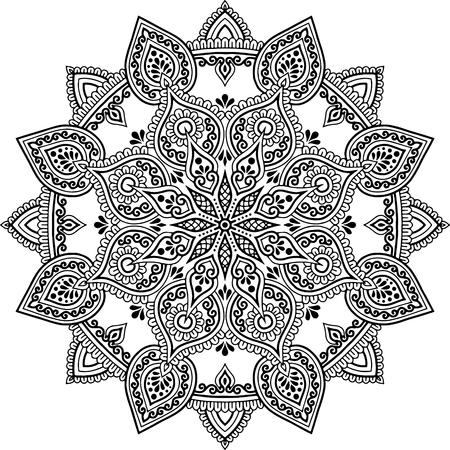 Mandala pattern black and white doodles sketch