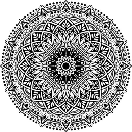 Mandala pattern black and white doodles sketch good mood
