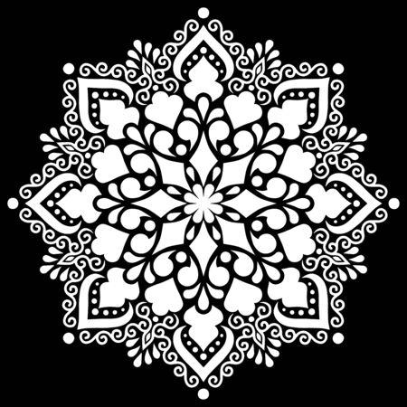 Pattern mandala white stencil doodles sketch good mood Ilustración de vector