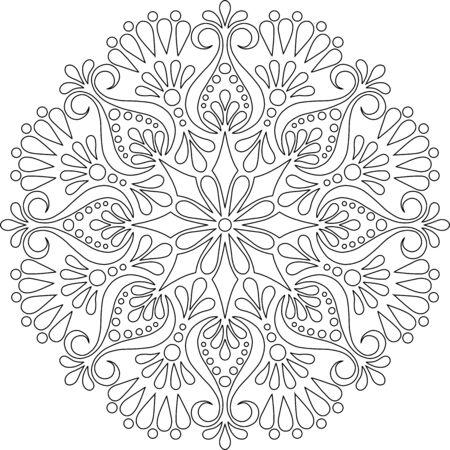 Figure mandala for coloring doodles sketch good mood 向量圖像
