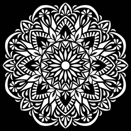 White mandala on black Pattern Stencil Doodles Sketch Good mood