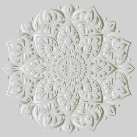 Mandala pattern white 3D gradient good mood. Good for creative and greeting cards, posters, flyers, banners and covers