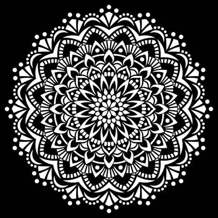 White mandala on black Pattern Stencil Doodles Sketch Good mood Vetores