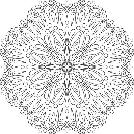 Figure mandala for coloring doodles sketch good mood 向量圖像