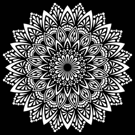 White mandala on black Pattern Stencil Doodles Sketch Good mood 向量圖像