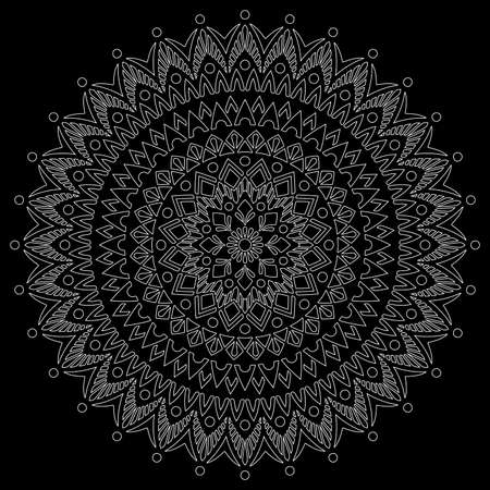 White outline mandala on a black background