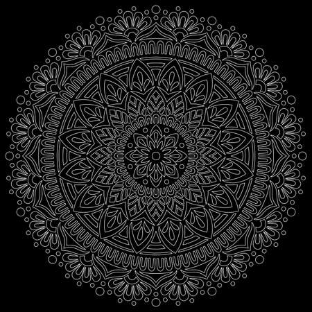 White outline mandala on a black doodles sketch good mood