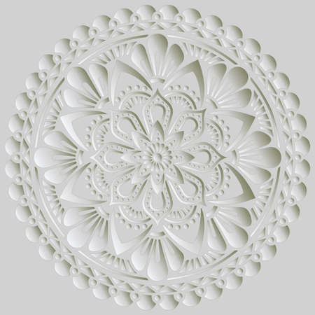 Mandala pattern white 3D gradient good mood. Good for creative and greeting cards, posters, flyers, banners and covers 向量圖像