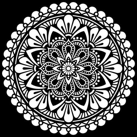 White mandala on black