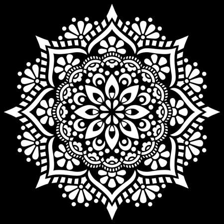 White mandala on black Pattern Stencil Doodles Sketch Good mood Ilustração