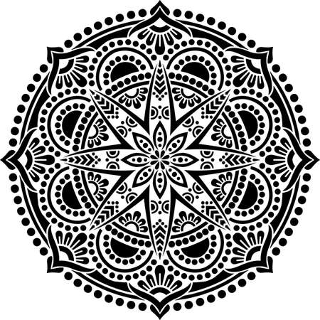 Mandala Pattern Stencil doodles sketch good mood Banco de Imagens - 154210211