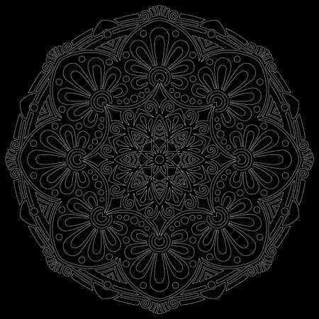 White outline mandala on a black doodles sketch good mood Banco de Imagens - 154210213