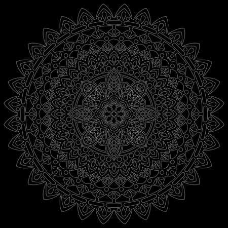 White outline mandala on a black doodles sketch good mood Banco de Imagens - 154210214