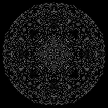 White outline mandala on a black doodles sketch good mood Banco de Imagens - 154210224