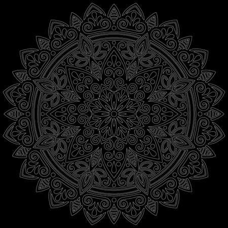 White outline mandala on a black doodles sketch good mood Banco de Imagens - 154210221