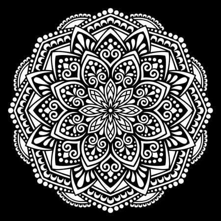 White mandala on black Pattern Stencil Doodles Sketch Good mood Banco de Imagens - 154449660