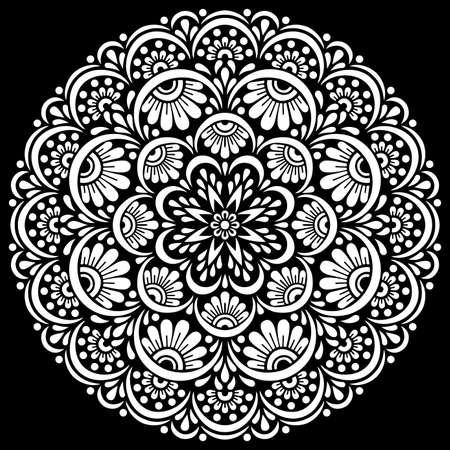 White mandala on black Pattern Stencil Doodles Sketch Good mood Banco de Imagens - 154449662
