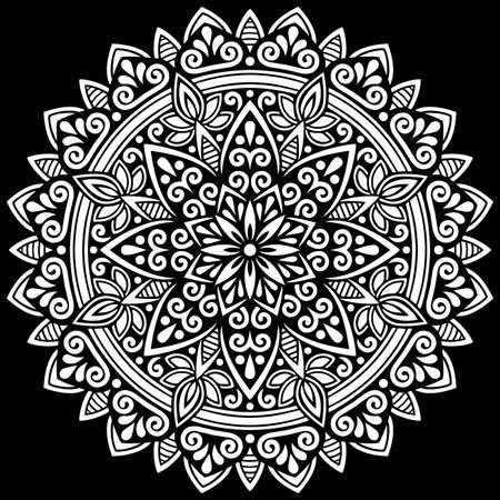 White mandala on black Pattern Stencil Doodles Sketch Good mood Banco de Imagens - 154449667