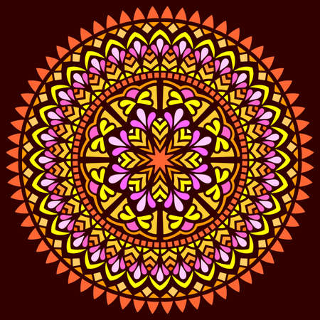Mandala pattern color Stencil doodles sketch good mood. Good for creative and greeting cards, posters, flyers, banners and covers Banco de Imagens - 154449677