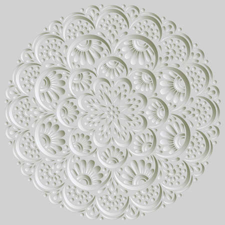 Mandala pattern white 3D gradient good mood. Good for creative and greeting cards, posters, flyers, banners and covers Banco de Imagens - 154550537